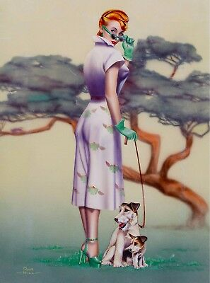 1940s Pin-Up Girl Wire Fox Terrier Dog Pups 2 Picture Poster Print Art Pin Up