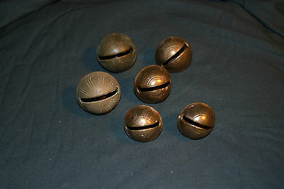 Lot of 6 Vintage Brass Sleigh Bells- mix of sizes: 2 of each size #4, #5, #6