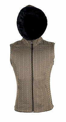 BRAND NEW! Flattering Women's Cable Knit Vest w/ Faux Fur Trim Hood!!
