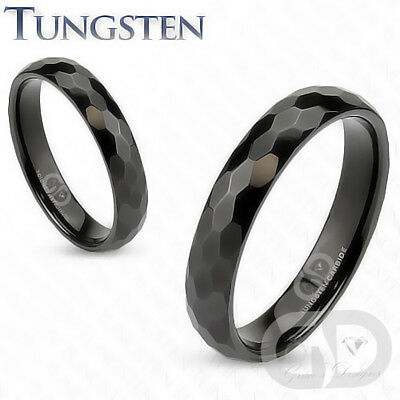 Tungsten Carbide 4mm Wide Wedding Engagement Band Black IP Prism Cut Design Ring