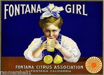 Fontana San Bernardino California Girl Lemon Citrus Fruit Crate Label Art Print