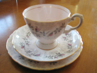 Tuscan light pink bone china Fashion Rose footed cup saucer bread plate England