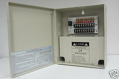 9Ch 10A Amps PT CCTV security Camera Power Supply box