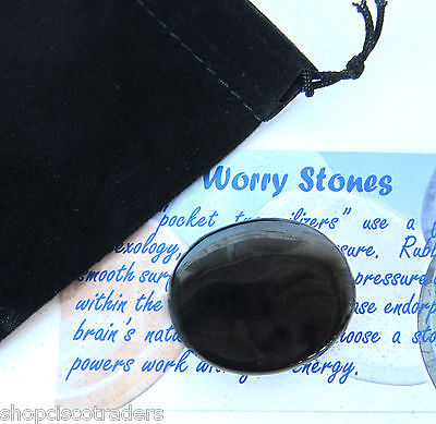 Black Onyx Palm Worry Stone Card Black Pouch Strength Calming Courage Healing