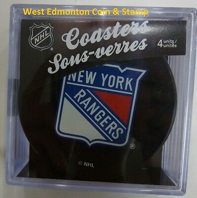 New York Rangers Sher-wood NHL Hockey Four Piece Puck Coasters Brand New In Case