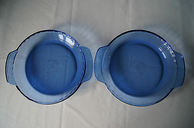 """Anchor Hocking lot of 2 blue glass fluted 9"""" pie plates 1 qt microwave safe EUC"""