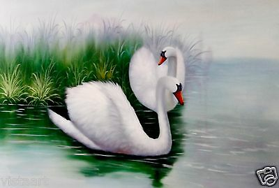 """Quality Oil Painting on Stretched Canvas 24""""x 36""""- Swans by the River Bank"""