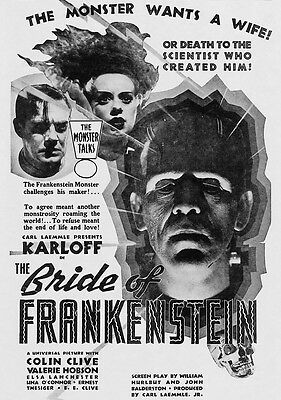 THE BRIDE OF FRANKENSTEIN BLACK AND WHITE MOVIE POSTER 7X11 PHOTO!!!