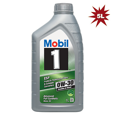 Mobil 1 0W-30 ESP Fully Synthetic Car Engine Motor Oil - 5x1L = 5 Litre
