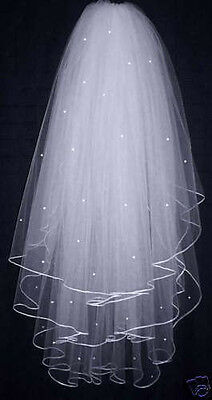 clearance !!!  3T White/ Ivory Pearl Wedding Bridal Veil With Comb