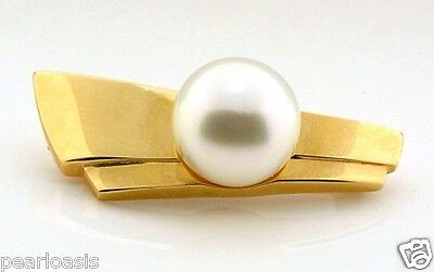Certified 11.1MM South Sea Pearl Pin Brooch, 14K Yellow Gold, 6.7 grams, NEW