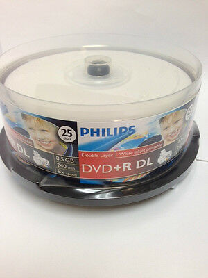 25-pack Philips 8x DVD+R Double Dual Layer White Inkjet Printable 8.5GB DL Disk