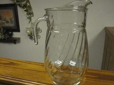 Vintage Large Swirl Open Handle 1/2 Gallon Pitcher