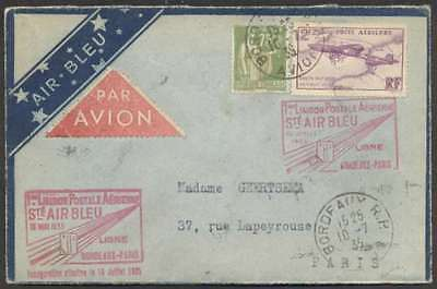 France Internal First Flight Cover 1935 w 2 Stamps