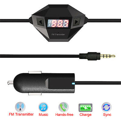 3.5mm FM Transmitter + Car Charger In-Car Radio Adapter for Smartphone Tablet PC