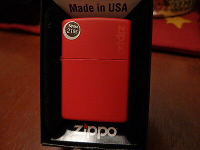 Red Matte With Zippo Logo Zippo Lighter Mint In Box