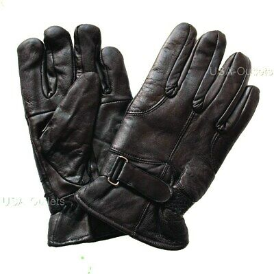 Mens Soft Real Leather Winter Driving Insulate Lined Adjustable Gloves - Uk1C
