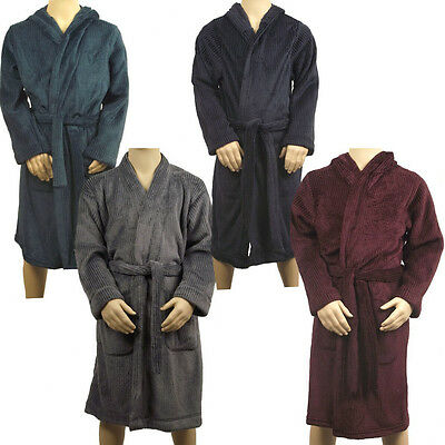 Marks & Spencer Boys Youth Hooded Fleece Dressing Gown M&S Hoodie Robe With Hood