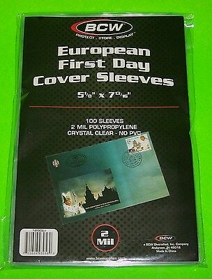 100 European First Day Cover Poly Sleeves, Crystal Clear - Bcw Brand