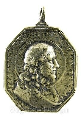 Large PROFILE OF CHRIST / VIRGIN MARY Medal bronze from antique 17th c. original
