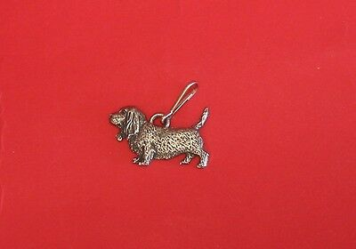 Basset Hound Dog Pewter Zipper Pull Mum Dad Vet Christmas Useful Gift NEW