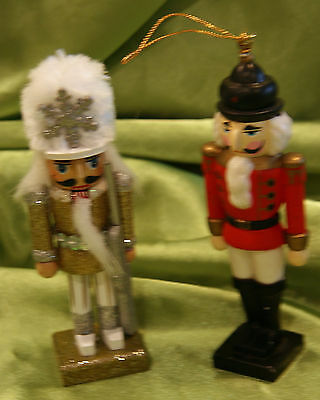 TWO~5 in Tall~Nutcracker's One is Ornament, One is Sparkly & Self Standing-works