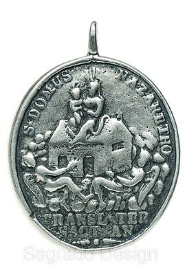 HOLY HOUSE OF LORETO / MADONNA & CHILD Medal silver, cast from antique original