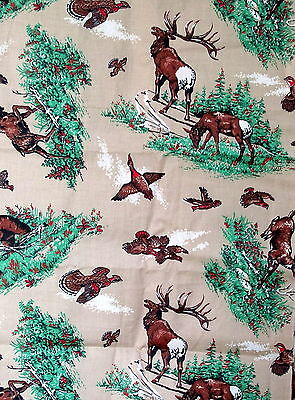 "Vtg 50s 60s Hunting cotton fabric DEER BEAR Novelty 36"" wide wildlife 1/2 yard"