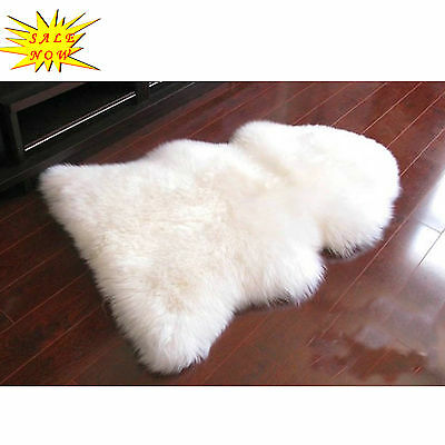 85 - 90CM Genuine Australian Sheepskin Lambskin Rug Pelt White ECO-TAN SANITIZE