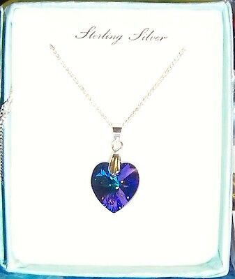 New Sterling Silver Swarovski Crystal Elements Birthstone Heart Necklace *boxed