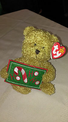 Ty HO HO HO the Bear ~ Greetings Collection~ Beanie Baby ~ MINT ~ RETIRED