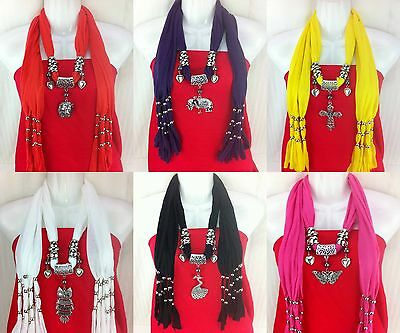 NEW fashion colors pendant scarf necklace shawl jewelry charm