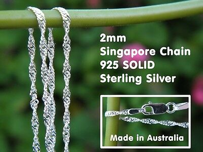 "2.0mm Singapore Chain (40cm 16"" - 70cm 28"") - 925 SOLID Sterling Silver"