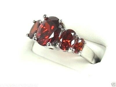R#2106 simulated Red Garnet gemstone ladies silver ring size 10.5