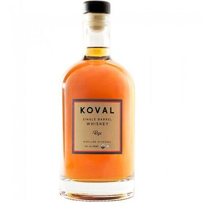 Koval Single Barrel Rye Whiskey 750ml  Certified Organic