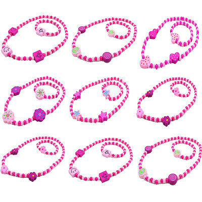 NEW 1Set Girl's Pink Wooden Flower Heart Beads Necklace&Bracelet Jewellery Sets