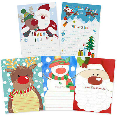 Christmas Thank You Cards Letters Pack of 20 - Santa Reindeer Unicorn Snowman