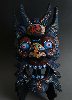 Beautiful Chinese Minorities Culture Handwork Carved Wood Totem Mask-JR11099