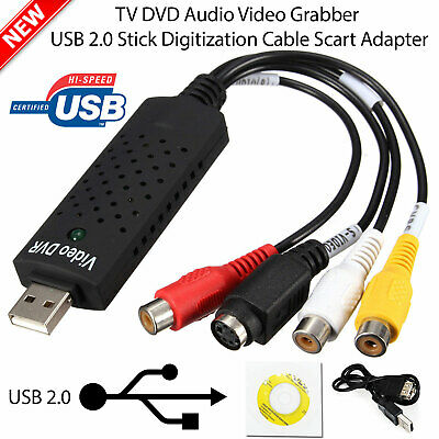 USB VHS Tapes To PC DVD Video Audio Converter 3 RCA HD DVR CCTV Capture Card