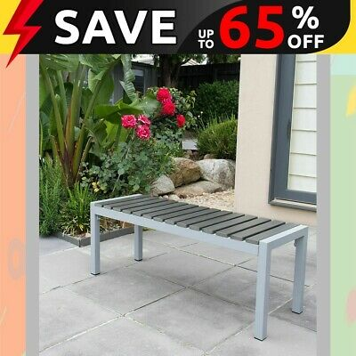Long Stool Aluminium Frame w/ Wooden Slat 118x41x45cm, Outdoor Chair Bench