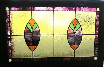 ~ Antique American Stained Glass Window 23.5 X 36 Arts & Crafts ~ Salvage ~