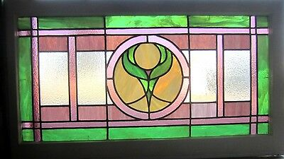 ~ Antique American Stained Glass Window Colorful ~ Architectural Salvage ~
