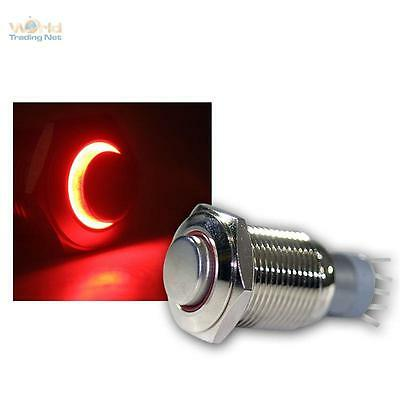 Stainless Steel Pressure Button, Switch, Bell Led Lighted Red