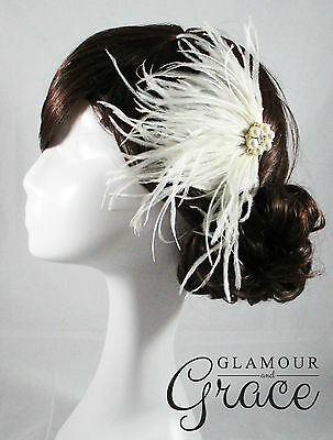 Willow vintage wedding bridal 1920s ivory flapper feather fascinator headpiece
