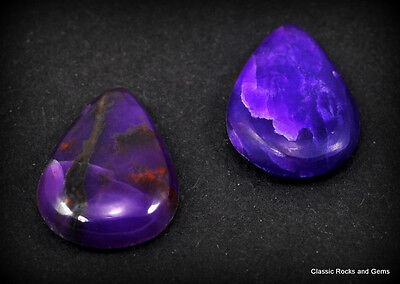 Untreated Gel Sugilite Gemstone Pair Unbehandelt Gel Sugilith Edelstein 3,2ct