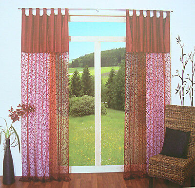 Pair of Elegant Trail Flocking Printing Sheer Crepe Patch Curtain