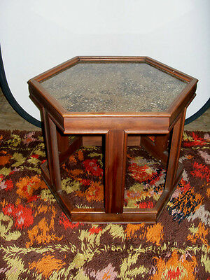 Vintage Mid Century John Keal Brown Saltman Hexagon End Table