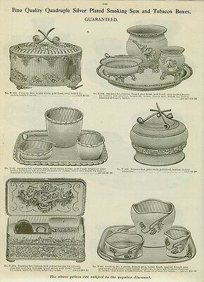 Catalog Page Ad  Silver Plate Smoking Sets Cigar Cigarette Tobacco Boxes1907