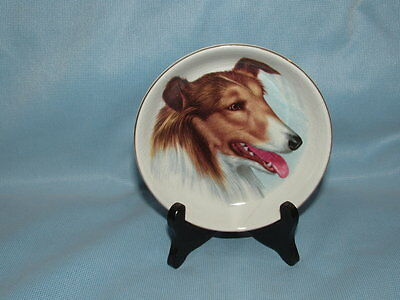 Vintage CROWN ENG China COLLIE DOG Small Trinket Display PLATE w/ Stand LASSIE