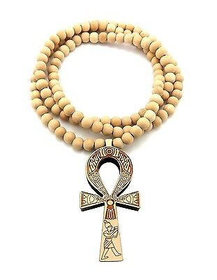 """NEW ANKH CROSS GOOD QUALITY WOOD PENDANT 8mm/36"""" WOODEN BEAD NECKLACE XJ217"""